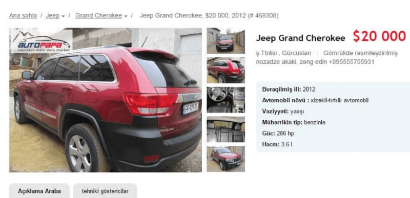 gürcistan araba fiyatları
